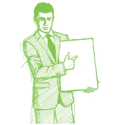 businessman write board vector image vector image