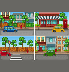 City scenes with car on the road vector