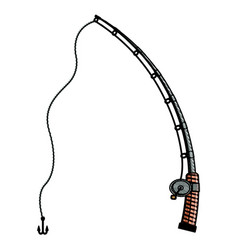 colored pencil silhouette of fishing rod with vector image vector image