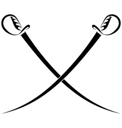 Crossed swords on a white background vector image