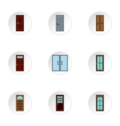 Exterior doors icons set flat style vector
