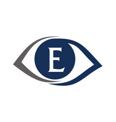 Eye care solutions letter e vector