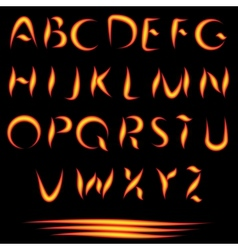 Fire letters burning font glowing alphabet vector