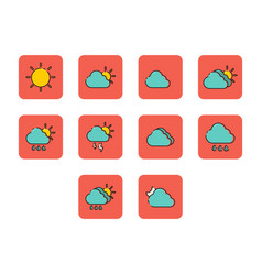 flat color weather icon set vector image