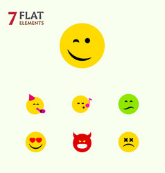 Flat icon emoji set of pouting winking party vector