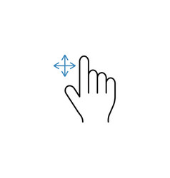 Grab finger line icon touch hand gestures vector