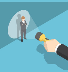 isometric hand pointing flashlight at businessman vector image vector image