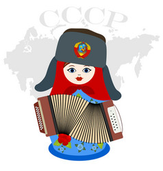 Nesting doll with an accordion vector