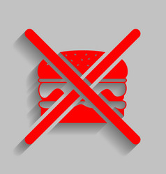 No burger sign red icon with soft shadow vector