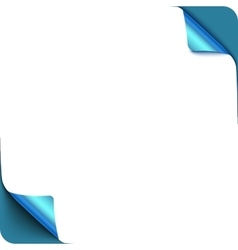 Page blue curl corners with shadow on blank white vector image vector image