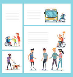 people with disabilities do regular staff set vector image