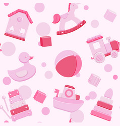 Pink seamless pattern with baby toys vector