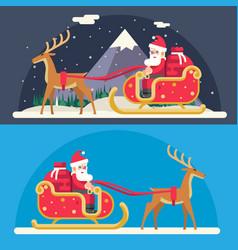 santa claus sleigh reindeer gifts winter snow vector image vector image