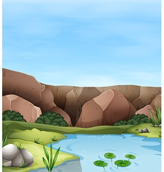 Scene of cliff and pond vector