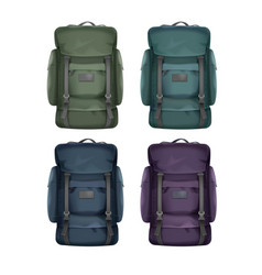 set of big travel backpacks vector image vector image