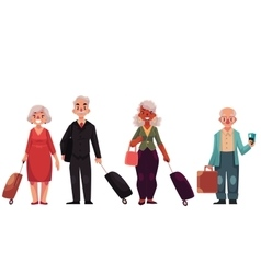 Set of old grey haired senior travelers with vector image vector image