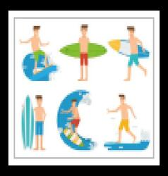 Surfing People Set vector image vector image