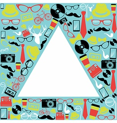 Vintage hipsters icons triangle vector image vector image
