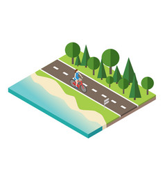 Woman cycling on countryside summer sunny road or vector