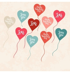 Background with balloons in the shape of heart vector image