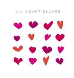 Simple assorted valentine hearts basic love motif vector