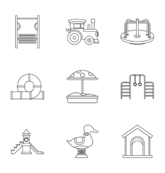 Children games icons set outline style vector image