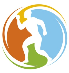 Abstract runner - healthy lifestyle icon vector