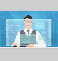 Engineer man working using virtual media interface vector