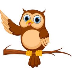 happy owl cartoon vector image
