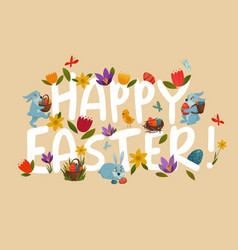 easter greeting bright floral white lettering vector image
