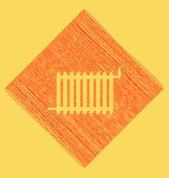 radiator sign  red scribble icon obtained vector image