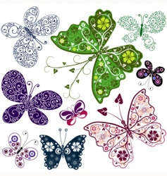 Abstract butterflies set vector
