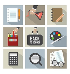 Set of modern flat design education icons vector