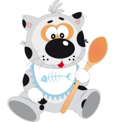 cat with spoon vector image