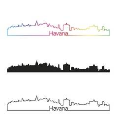 Havana skyline linear style with rainbow vector