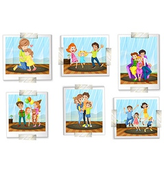 Set of family photos vector