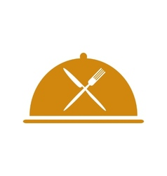 Restaurant icon with cloche and flatware vector
