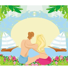 Couple on tropical vacation abstract frame vector