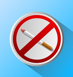 Ashtray with cigarette and prohibitory sign vector