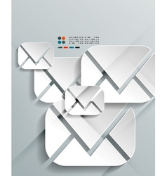 3d paper envelopes design vector image