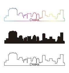 Osaka skyline linear style with rainbow vector