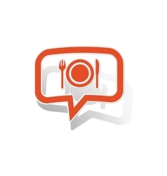 Dinner message sticker orange vector