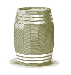 Engraved wooden barrel vector