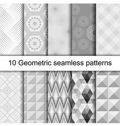 10 Geometric grey seamless patterns vector image