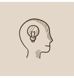 Human head with idea sketch icon vector