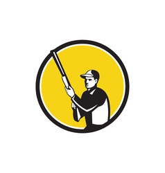 Hunter holding shotgun rifle circle retro vector