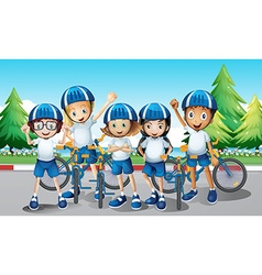 Cyclists and bike on the road vector