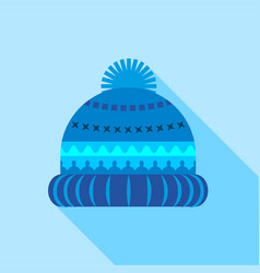 Blue knitted hat icon flat style vector