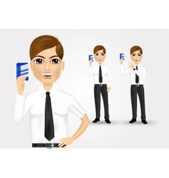 businessman holding business card vector image vector image