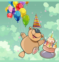 cartoon happy bear with cake and balloons vector image vector image